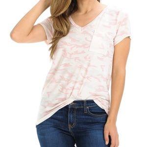 L. Pink Camo Print V-Neck Top With Pocket
